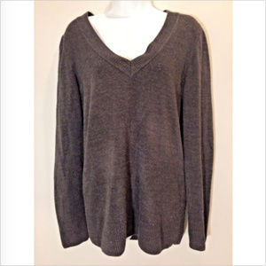 H&M Womens L V-Neck Charcoal Long Sleeve Sweater